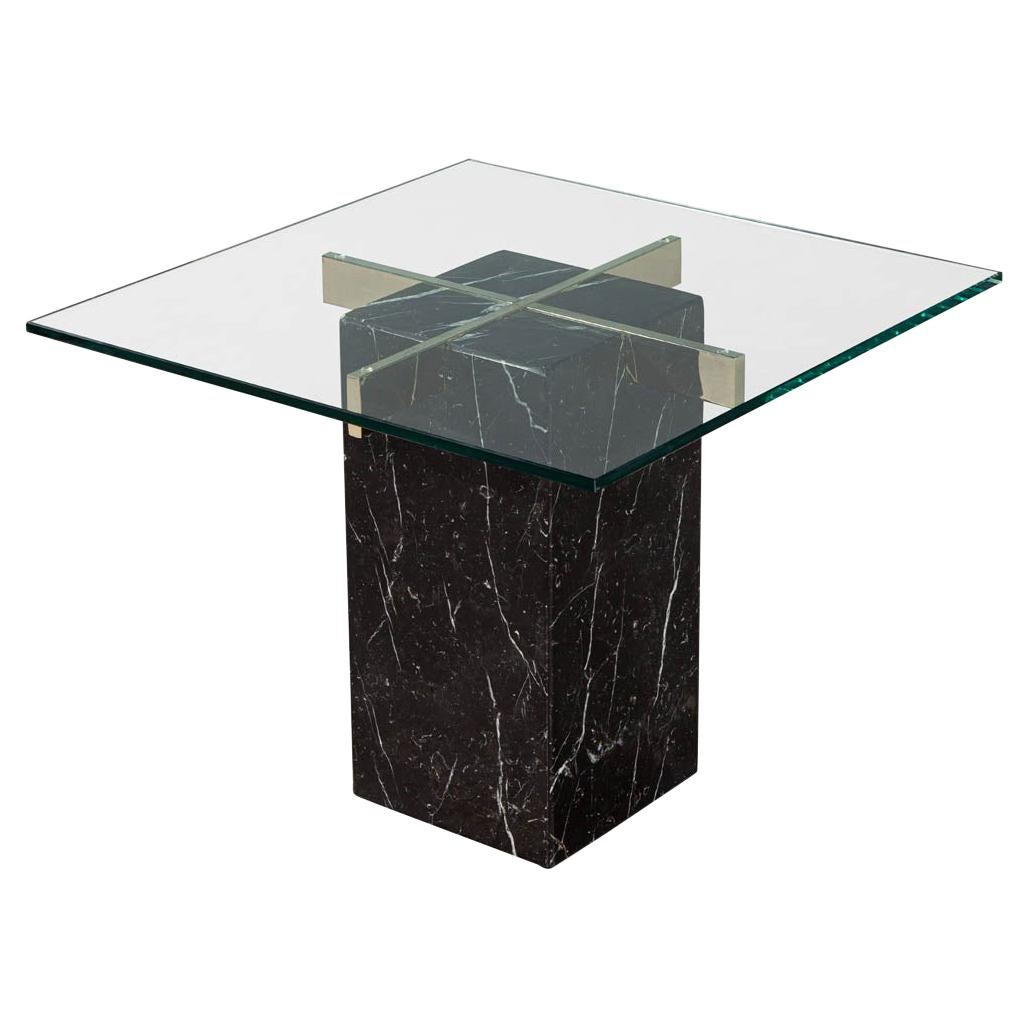 Mid-Century Modern Marble Brass & Glass Side Table by Artedi