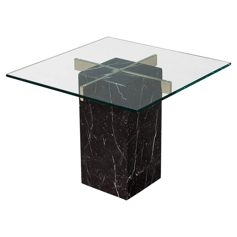 Mid-Century Modern Marble Brass & Glass Side Table by Artedi For Sale