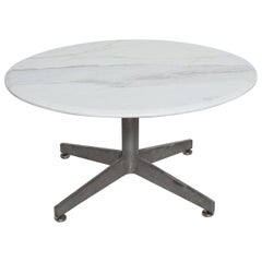 Mid-Century Modern Marble Coffee Table with Aluminum Star Base