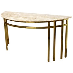 Mid-Century Modern Marble on Brass Demilune Console Table Parzinger Style, 1960s