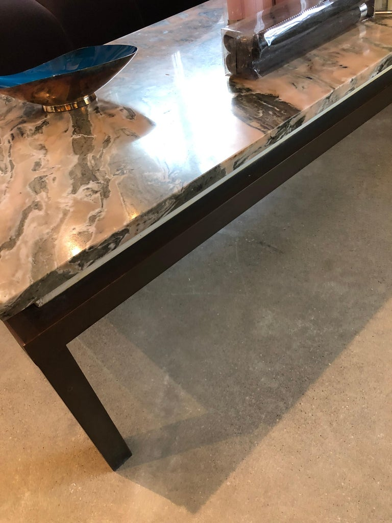 Mid Century Modern Marble Swirl Top With Bronze Base
