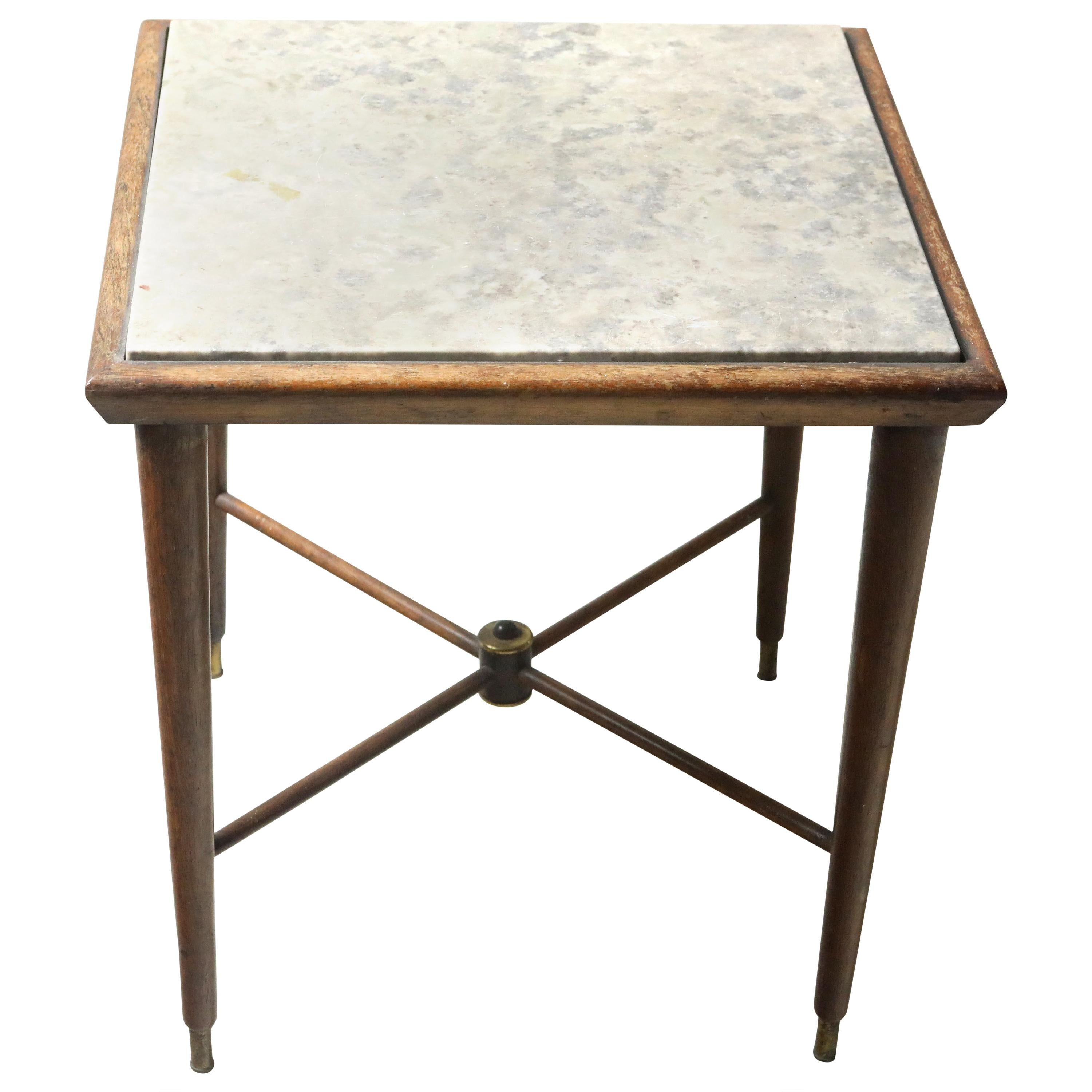 Mid-Century Modern Marble-Top Side Table by Giuseppe Scapinelli, Brazil, 1950s