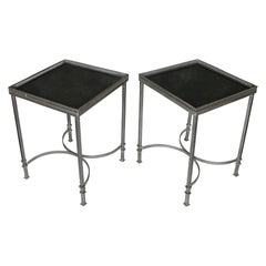 Mid-Century Modern Marble Top Steel Side Tables