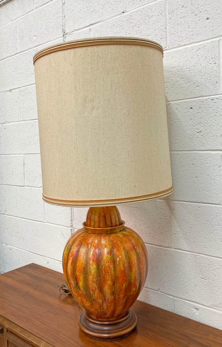 Unknown Mid-Century Modern Marbro Lamp Co. Painted Orange Ceramic Table Lamp For Sale