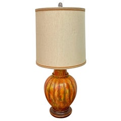 Mid-Century Modern Marbro Lamp Co. Painted Orange Ceramic Table Lamp