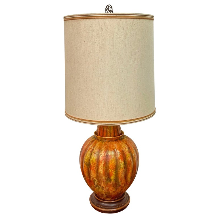 Mid-Century Modern Marbro Lamp Co. Painted Orange Ceramic Table Lamp For Sale