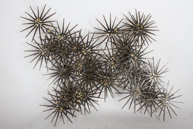 Mid-Century Modern Marc Weinstein Cluster of Stars Brutalist Nail Wall Sculpture 3