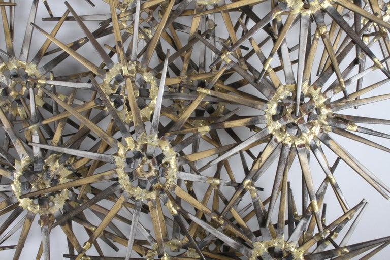 American Mid-Century Modern Marc Weinstein Cluster of Stars Brutalist Nail Wall Sculpture