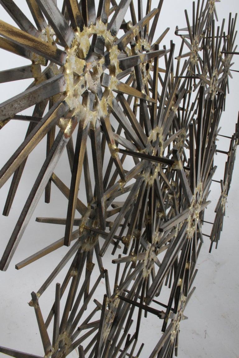 Metal Mid-Century Modern Marc Weinstein Cluster of Stars Brutalist Nail Wall Sculpture