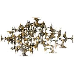 Mid-Century Modern Marc Weinstein Create Brutalist Brass Metal Wall Sculpture