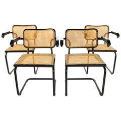 Mid-Century Modern Marcel Breuer Black B64 Cesca Chairs, Italy, 1970
