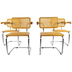 Mid-Century Modern Marcel Breuer Chrome and Golden Beech Cesca B64 Chairs, Italy