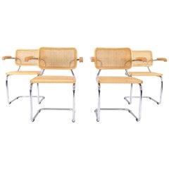 Mid-Century Modern Marcel Breuer Golden Beech Cesca B64 Chairs, Italy, 1980s