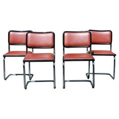 Mid-Century Modern Marcel Breuer Set of 4 Cantilever Chrome Side Chairs, Italy