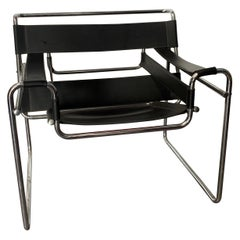 "Mid-Century Modern Marcel Breuer ""Wassily"" Chairs in Chrome and Black Leather"