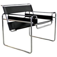 Mid-Century Modern Marcel Breuer Wassily Leather Chrome Lounge Chair Italy 1970s