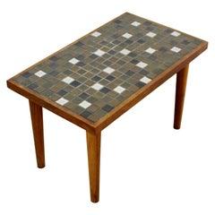 Mid-Century Modern Martz Rectangular Ceramic Tile Top Walnut Side End Table