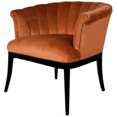 Mid-Century Modern Mary Armchair Cotton Velvet Walnut Wood