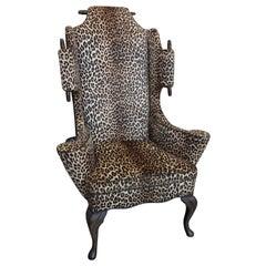 Mid-Century Modern Mason Art Custom High Back Chair Faux Leopard Wingback