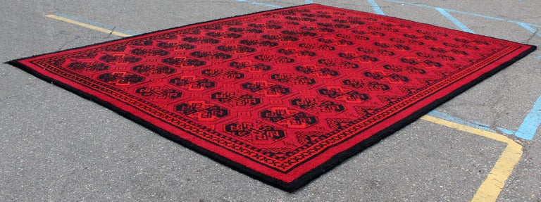 Mid Century Modern Massive Red And Black Hand Knotted Area