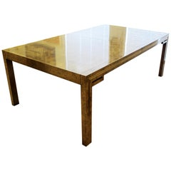 Mid-Century Modern Mastercraft Amboyna Burl and Brass Dining Table with 2 Leaves
