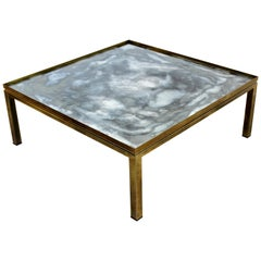 Mid-Century Modern Mastercraft Bronze and Glass Square Coffee Table, 1960s