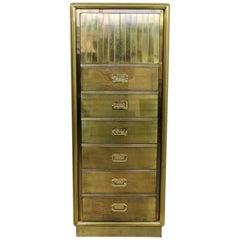 Mid-Century Modern Mastercraft Etched Acid Brass Lingerie Cabinet, 1970s