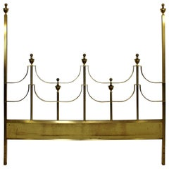 Mid-Century Modern Mastercraft Hollywood Regency Brass King Size Headboard 1970s