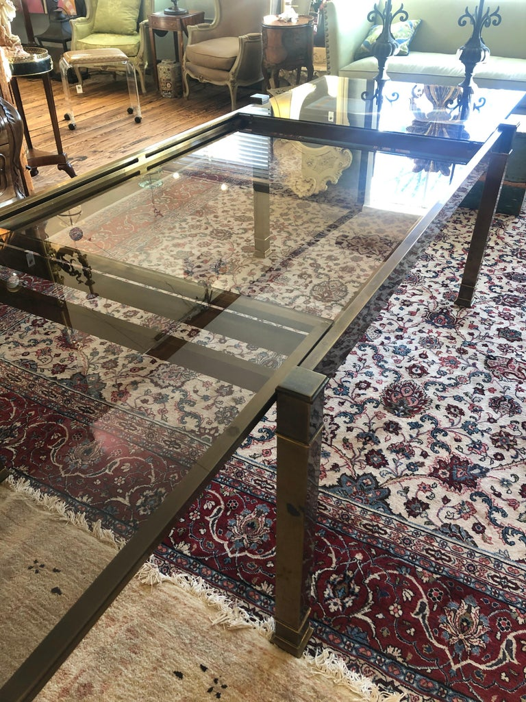 Mid-Century Modern Mastercraft Style Brass & Glass Expandable Dining Table For Sale 5