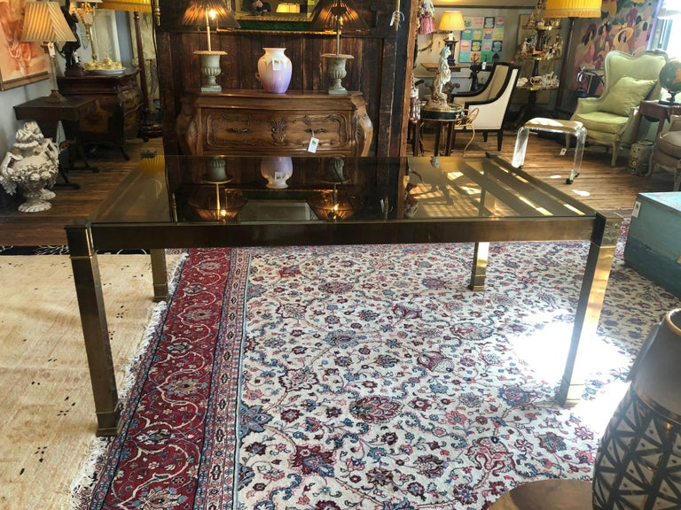 American Mid-Century Modern Mastercraft Style Brass & Glass Expandable Dining Table For Sale