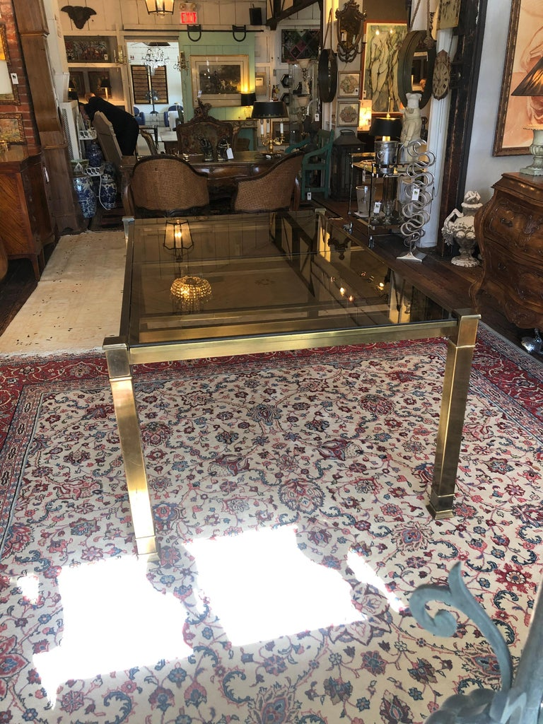 Mid-Century Modern Mastercraft Style Brass & Glass Expandable Dining Table For Sale 1