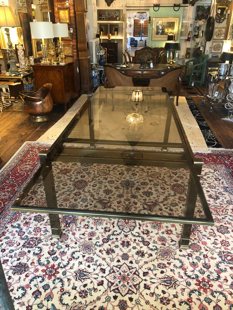 Mid-Century Modern Mastercraft Style Brass & Glass Expandable Dining Table For Sale 2