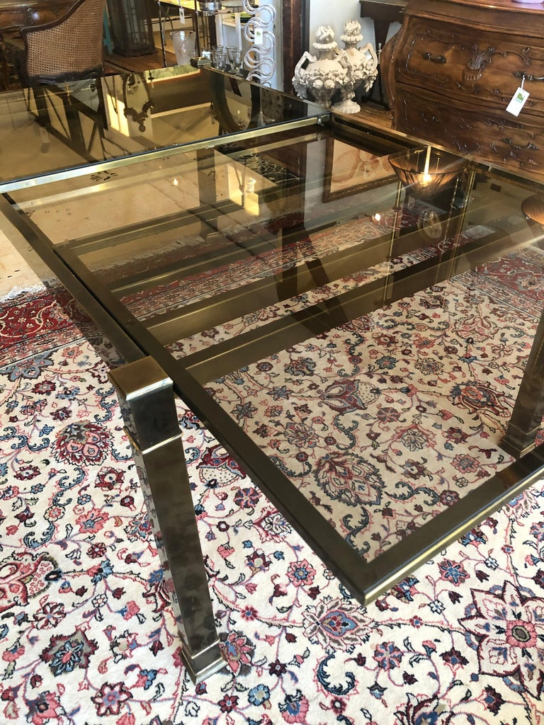 Mid-Century Modern Mastercraft Style Brass & Glass Expandable Dining Table For Sale 3