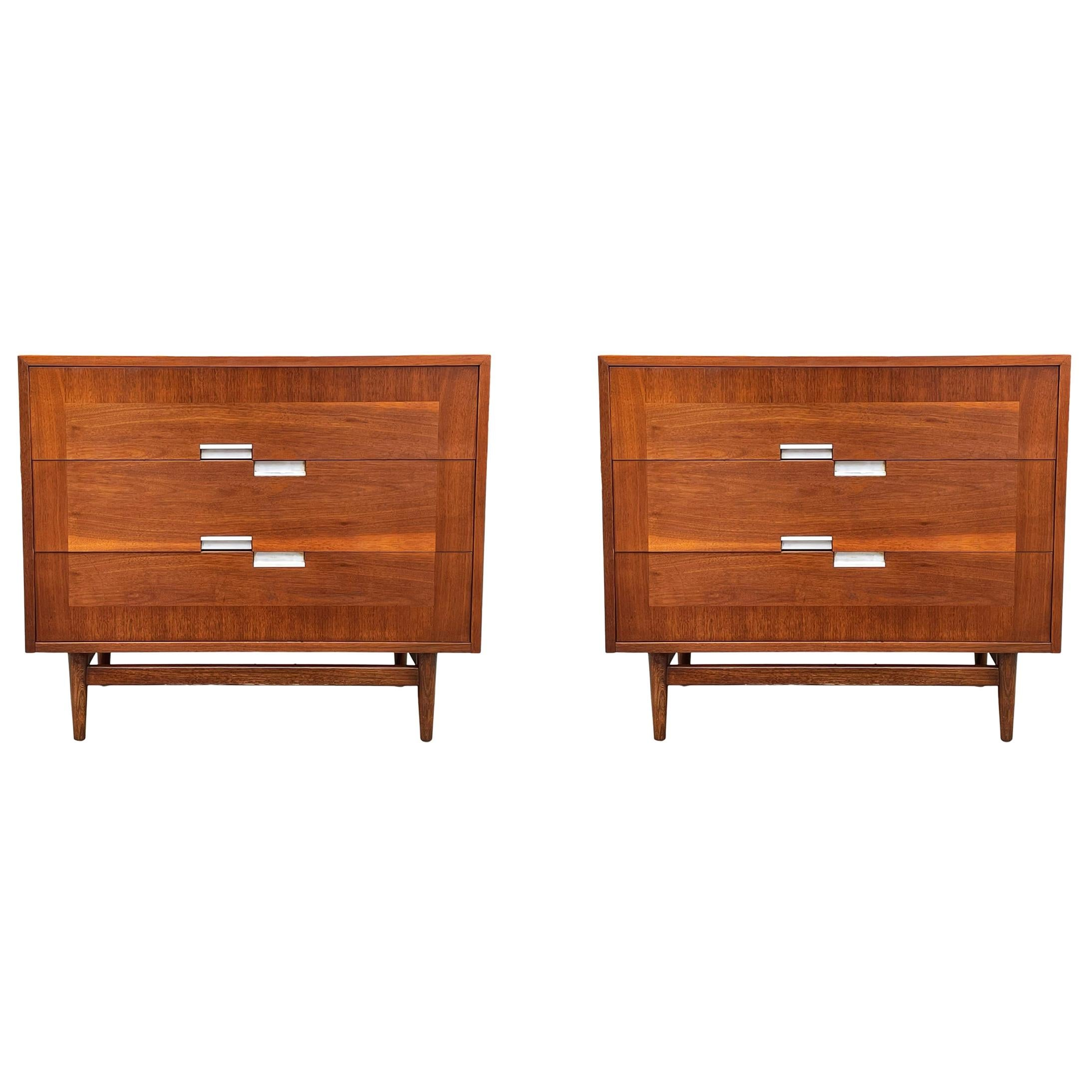 Mid-Century Modern Matching Pair of Chests, Commodes or Large Night Stands