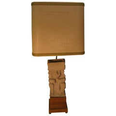 Mid-Century Modern Mayan Cast Stone Figural Table Lamp
