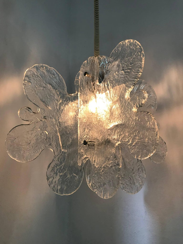20th Century Mid-Century Modern Mazzega Chandelier in Clear Murano Glass by Carlo Nason For Sale