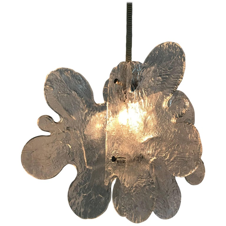 Mid-Century Modern Mazzega Chandelier in Clear Murano Glass by Carlo Nason For Sale