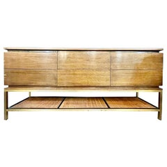 Mid-Century Modern McCobb Cabinet with Glass Top Brass Frame and Caning