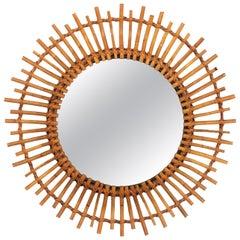 Mid-Century Modern Mediterranean Rattan Round Sunburst Mirror with Curvy Rays
