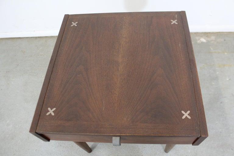 Mid-Century Modern Merton Gershun American of Martinsville Walnut End Table For Sale 1