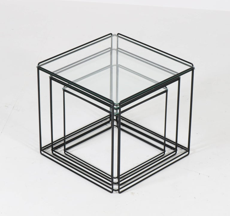 French Mid-Century Modern Metal and Glass Nesting Tables by Max Sauze, 1970s For Sale