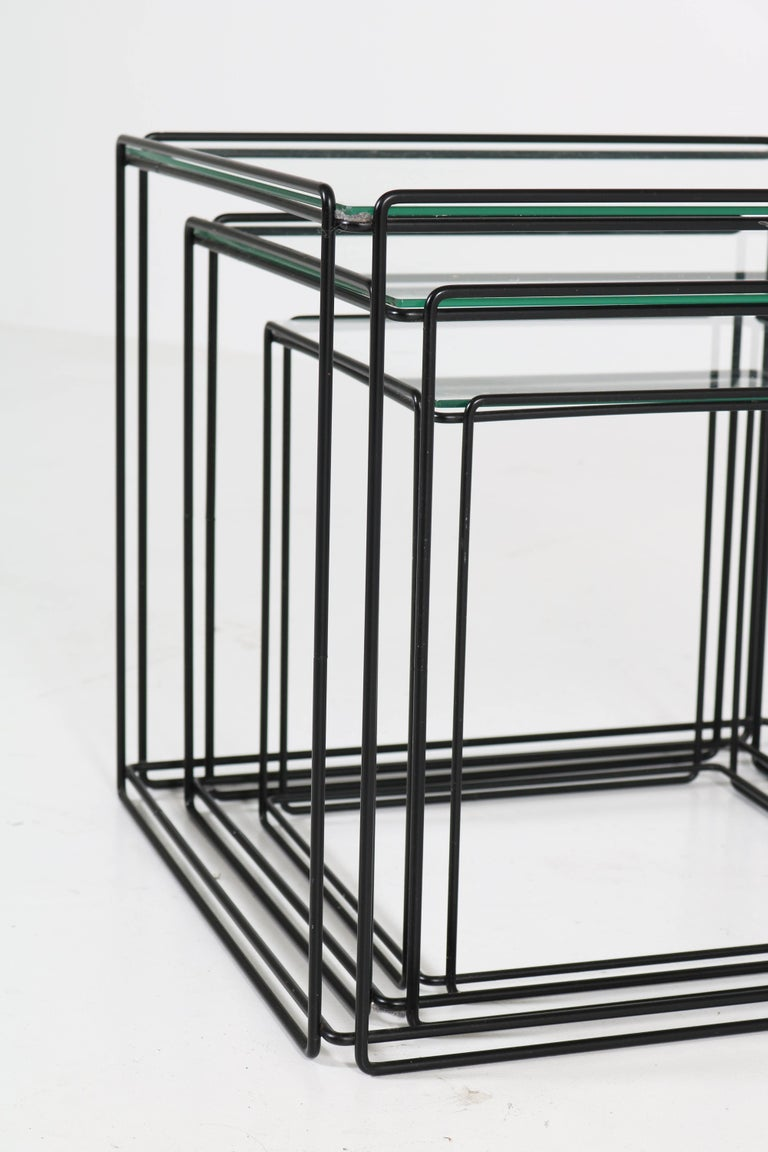 Lacquered Mid-Century Modern Metal and Glass Nesting Tables by Max Sauze, 1970s For Sale