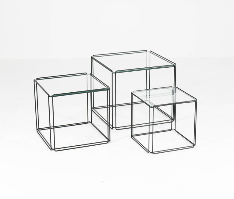 Mid-Century Modern Metal and Glass Nesting Tables by Max Sauze, 1970s In Good Condition For Sale In Amsterdam, NL
