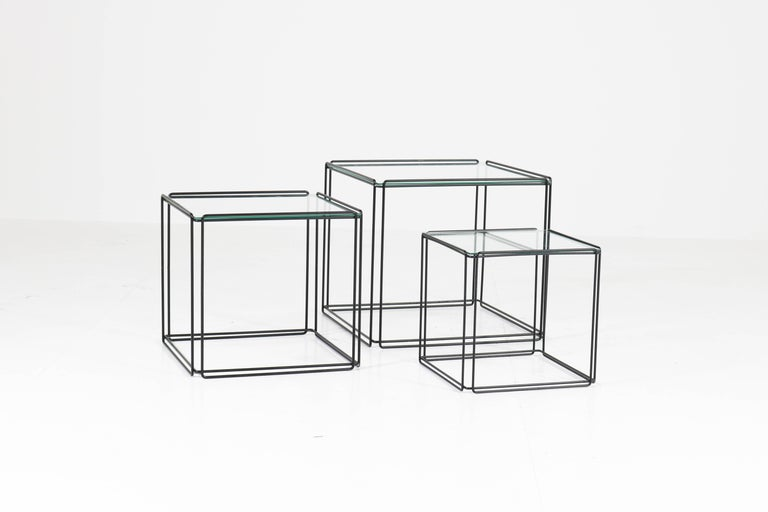 Late 20th Century Mid-Century Modern Metal and Glass Nesting Tables by Max Sauze, 1970s For Sale