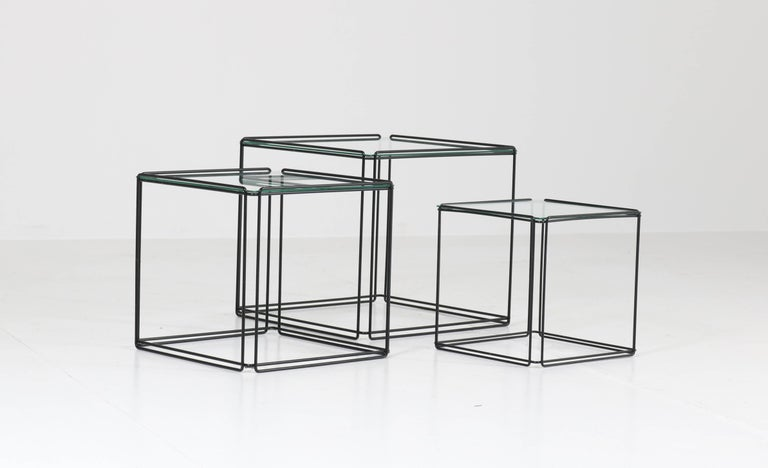 Mid-Century Modern Metal and Glass Nesting Tables by Max Sauze, 1970s For Sale 1