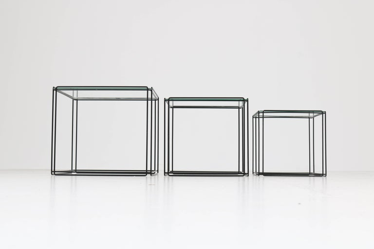 Mid-Century Modern Metal and Glass Nesting Tables by Max Sauze, 1970s For Sale 2
