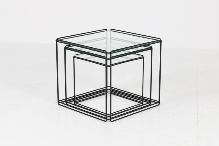 Mid-Century Modern Metal and Glass Nesting Tables by Max Sauze, 1970s For Sale 3