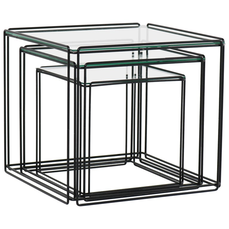 Mid-Century Modern Metal and Glass Nesting Tables by Max Sauze, 1970s For Sale