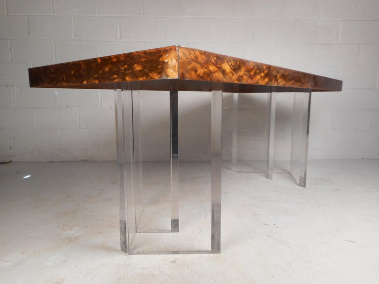 Late 20th Century Mid-Century Modern Metal and Lucite Dining Table For Sale