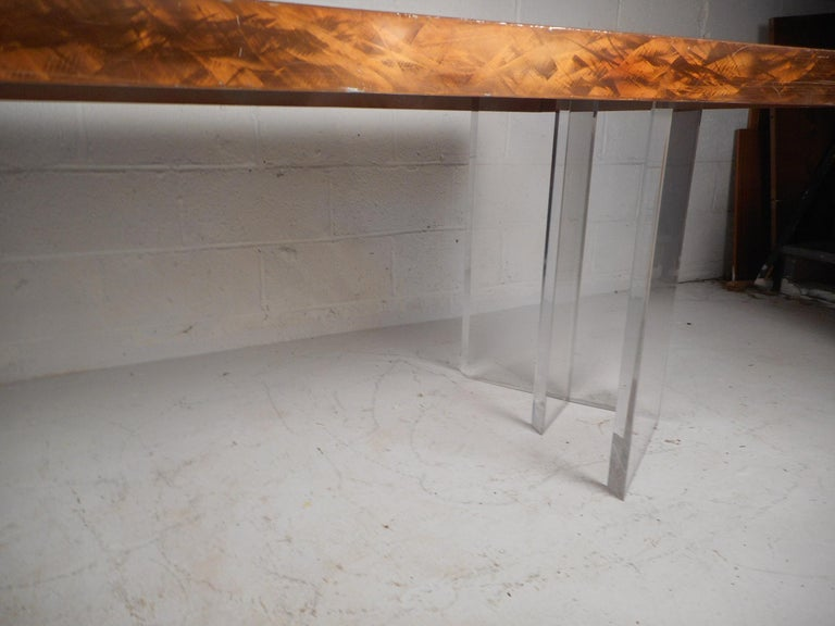 Mid-Century Modern Metal and Lucite Dining Table For Sale 2